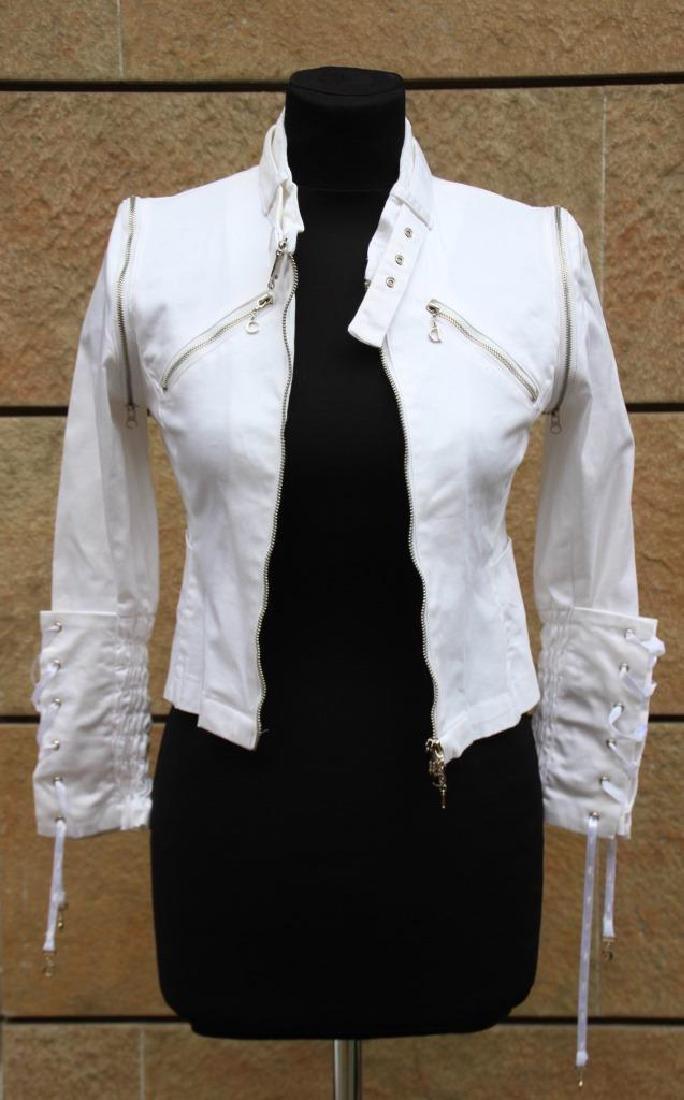 Christian DIOR Boutique Veste en coton blanc, fermeture
