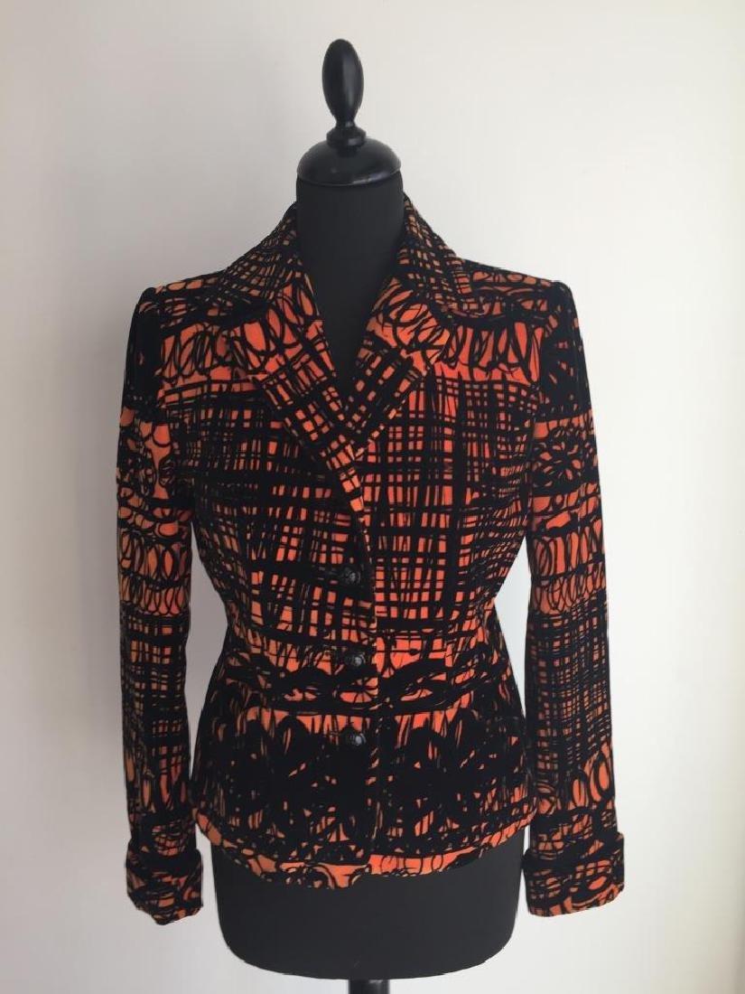 MOSCHINO Veste en velours noir et orange, Taille non