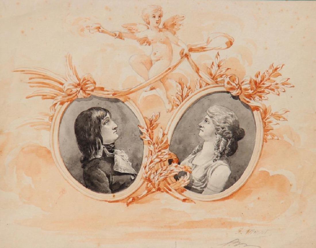 J. MONNET (XIX° siècle)  Portraits en médaillons de