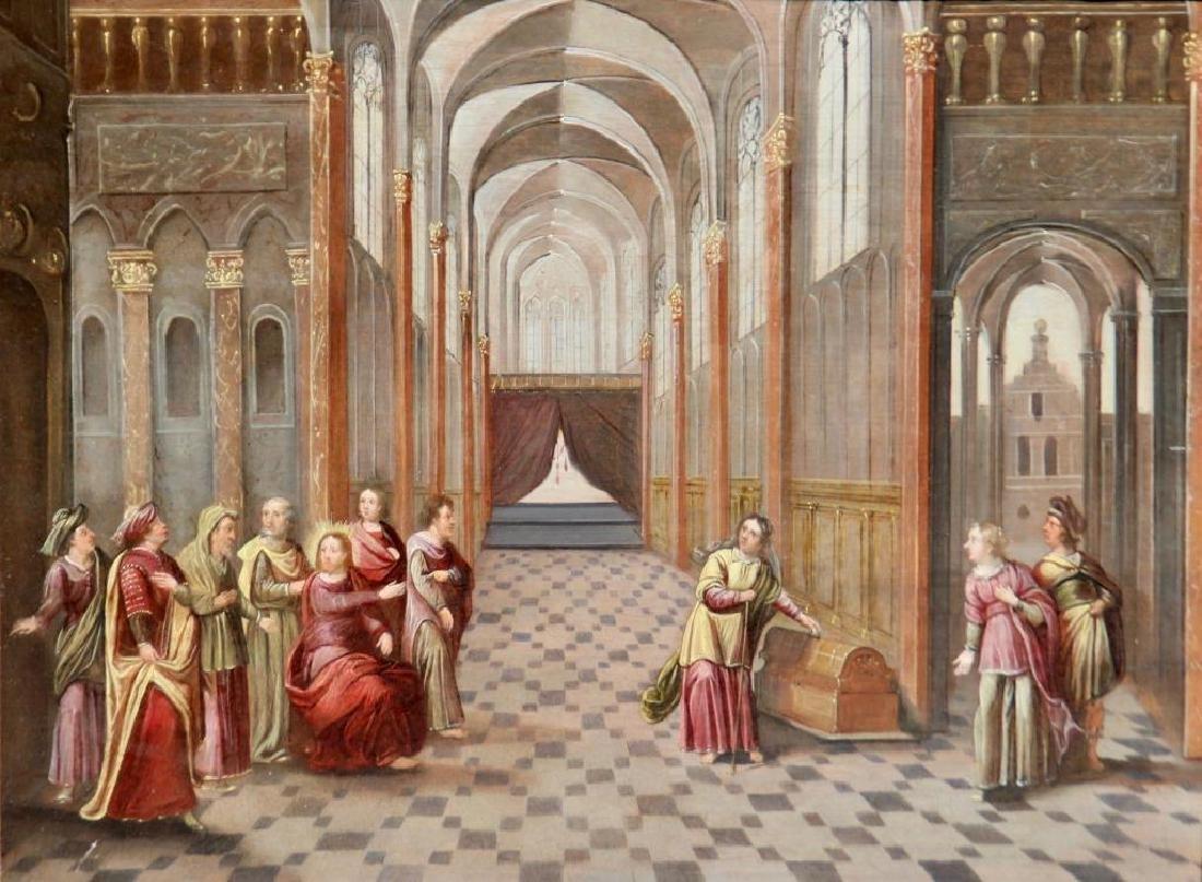 Ecole flamande du XVII°siècle  Jésus chassant les