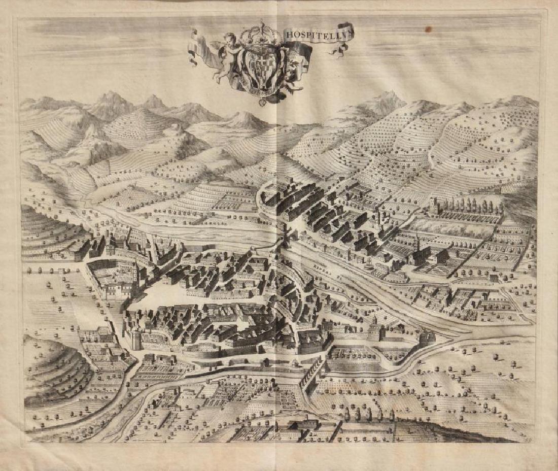 Paire de gravures en noir sur papier Plan de la ville