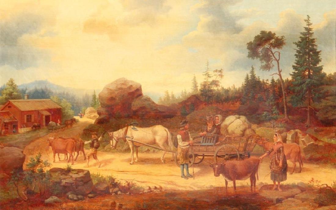 Ecole du XIX°siècle  Chemin avec calèches  Huile sur