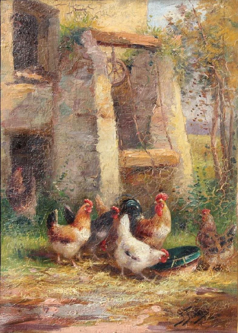Jeanne FROMENT (XIX-XX) Le poulailler Huile sur toile.