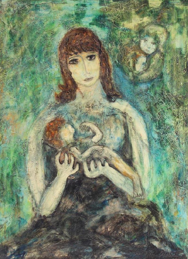 RENATO (XX) Maternité - 1963  Huile sur toile. Signé en