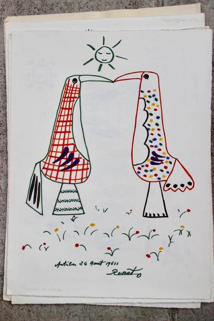 """RENATO (XX) """"Les toucans"""" - 1962  Série de 19 dessins"""