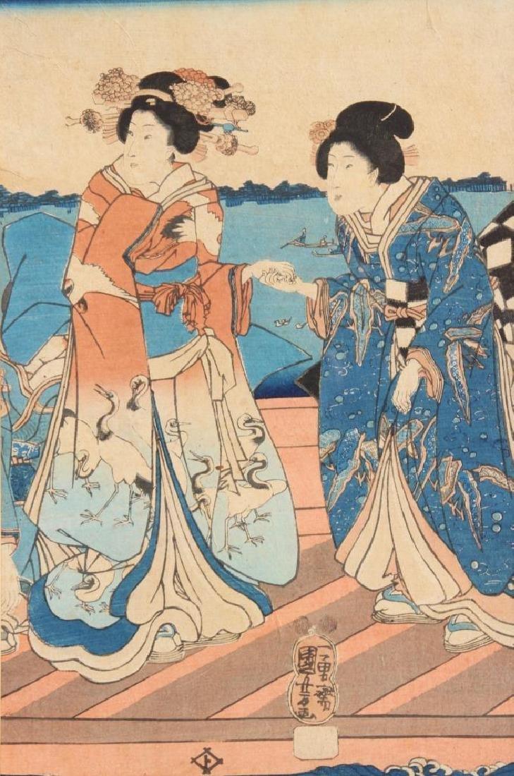 Kuniyoshi UTAGAWA (1797/98-1861) Deux femmes  Huile sur