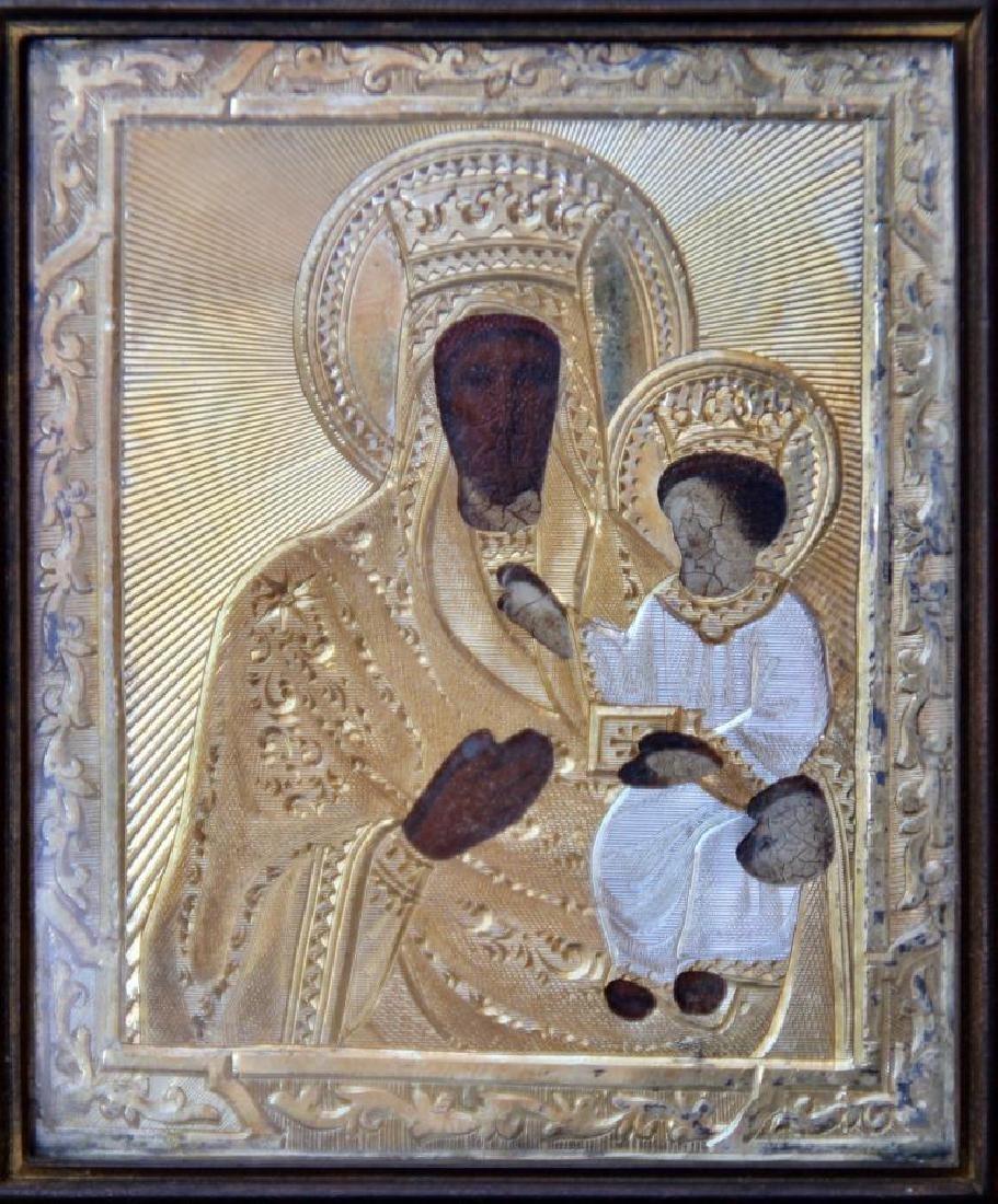 Ecole Russe du XIX° siécle  Icone de la vierge à
