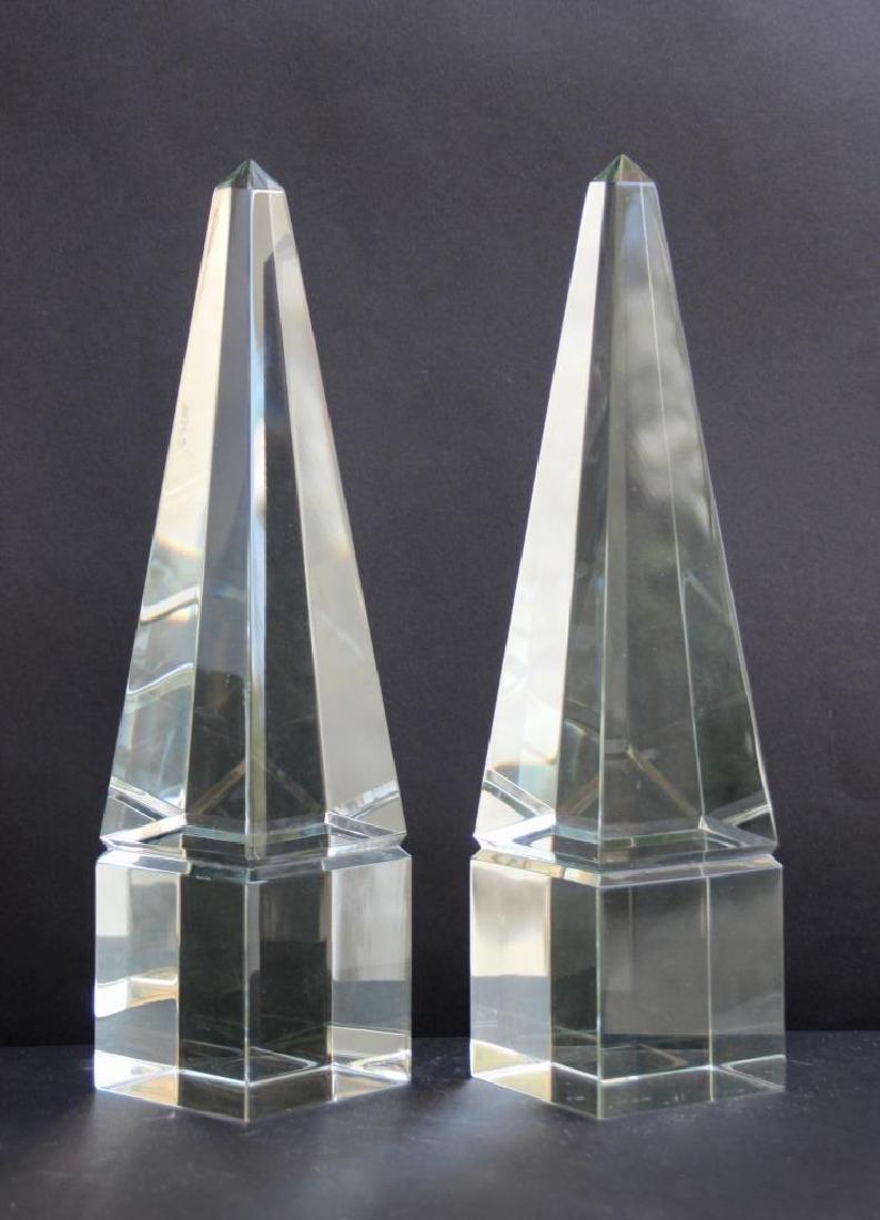 Paire d'obélisques en cristal  H : 37 cm