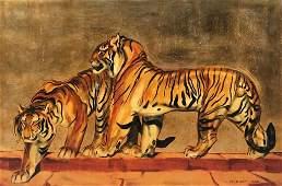 André MARGAT (1903-1999) Le tigre - 1944 Huile sur