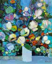 Camille HILAIRE (1916-2004) Bouquet de fleurs sur fond