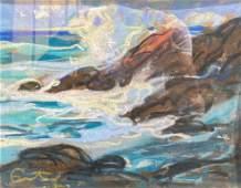 Louis FORTUNEY (1875-1951) Bord de mer agitée Pastel