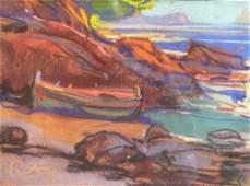 Louis FORTUNEY (1875-1951) Barque en bord de mer Pastel
