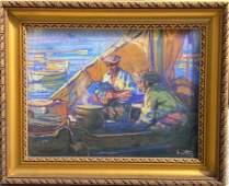 Louis FORTUNEY (1875-1951) Les pêcheurs Pastel sur