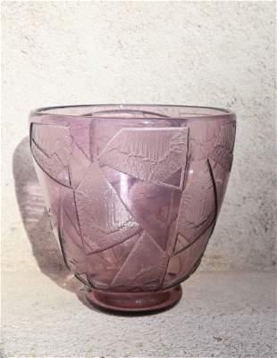 DAUM Nancy France (1930) Vase sur talon en verre