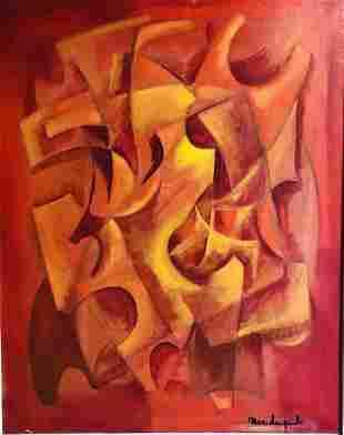 Marcel LUQUET (XX) Composition abstraite Huile sur