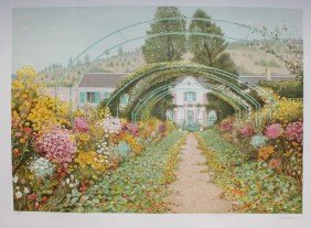 """Georges CARAMADRE (1937)   """"Giverny"""" Lithographie"""
