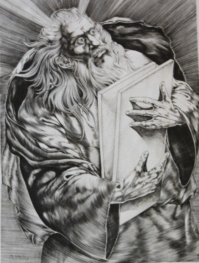 198: M. Davry Moise. Pointe sècheen noir sur papier. Si