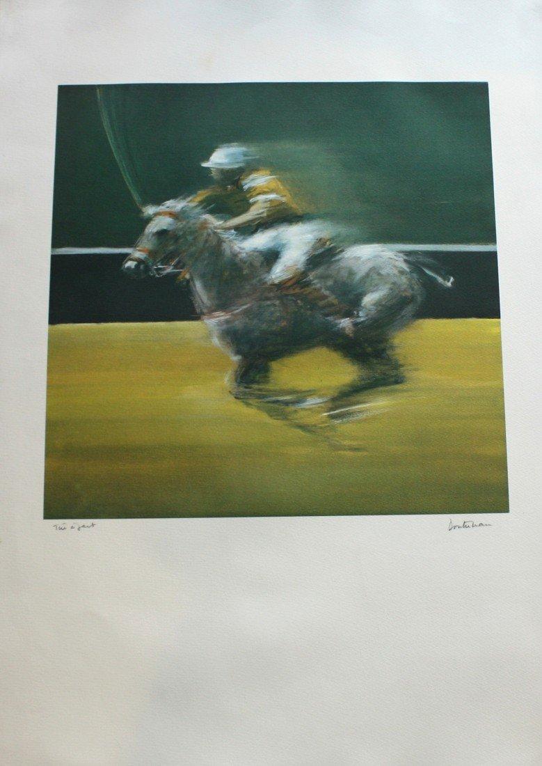 214: Pierre DOUTRELEAU (1938) Joueur de polo. Lithograp