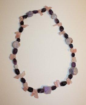 16: CREATION JPB - Sautoir en quartz rose et améthyste