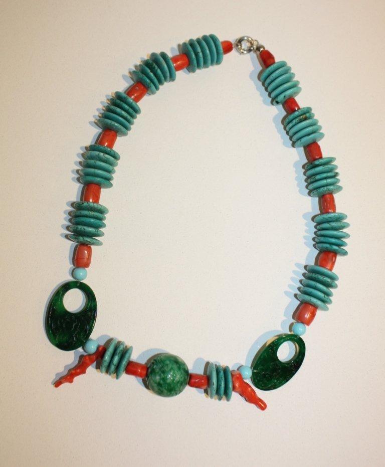 18: CREATION JPB - Collier de pastilles Turquoise, perl