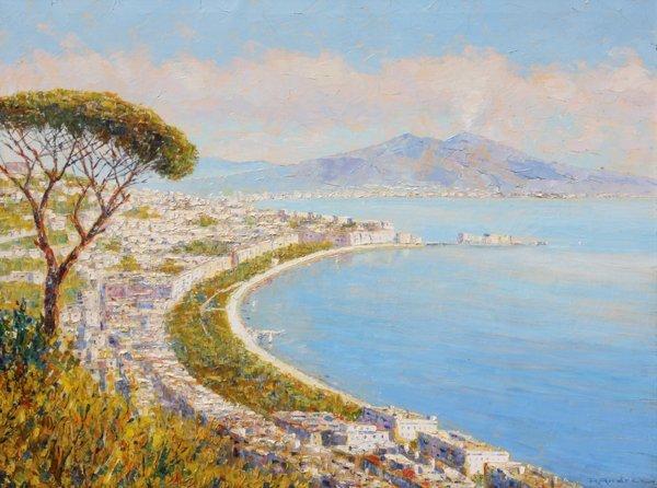 2: Rudolf ANDRÉ (1873-1920)  La Baie de Naples Huile su