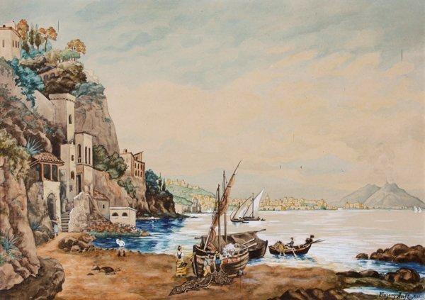 4: Vinzenz ANFT (XX) Le Golfe de Naples - 1931 Aquarell