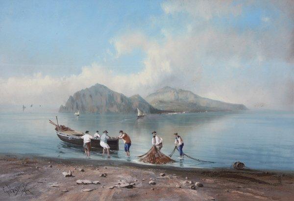 7: Giovanni BATTISTA (1858-1925)  Capri depuis Massa Lu