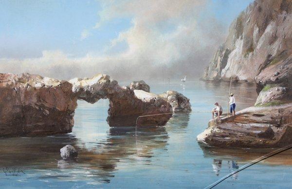 8: Giovanni BATTISTA (1858-1925)  Bor de mer à Capri Go