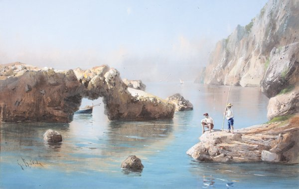 9: Giovanni BATTISTA (1858-1925)  Deux pêcheurs à la li