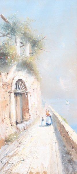 12: Giovanni BATTISTA (1858-1925)  Chemin en bord de Cô