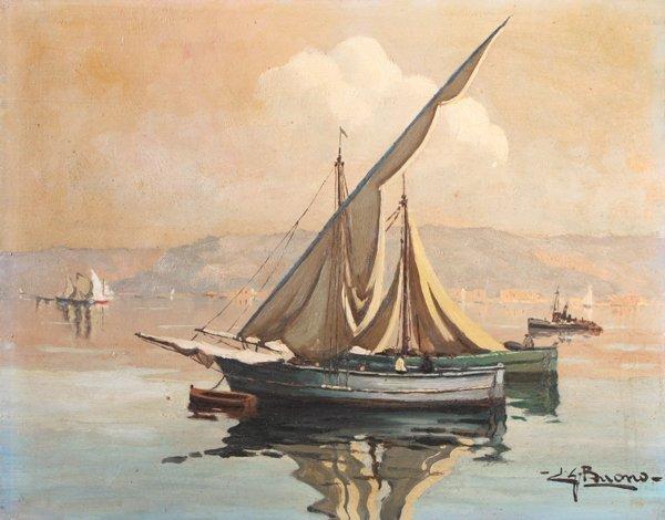 18: Leon Giuseppe BUONO (1887-1975) Bateau de pêche (Po