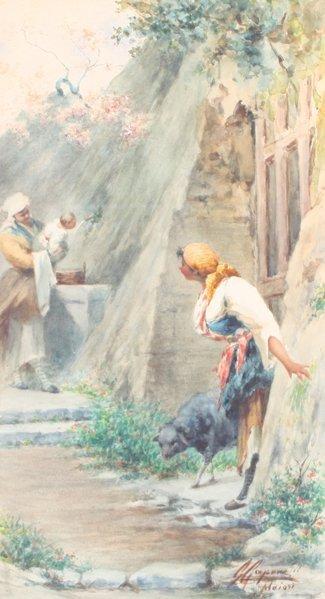 22: Gaetano CAPONE (1845-1920/24) Paysanne près de Maio