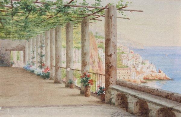 23: Gaetano CAPONE (1845-1920/24) La Baie d'Amalfi Aqua