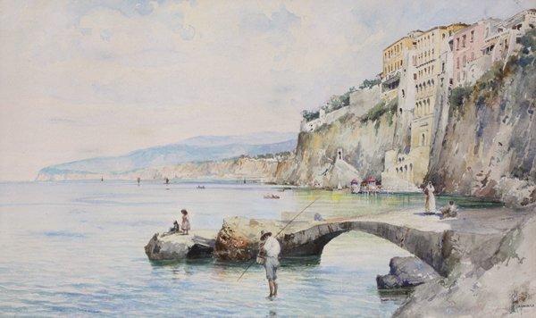 24: Michele CAPUANO (XIX)  La plage de Sorrento Aquarel