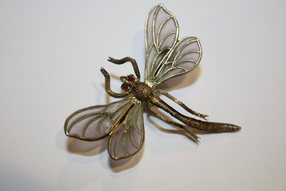 10: Broche libellule en verre et argent. Travail dans l