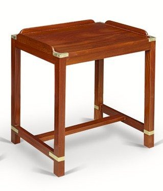 17: Petite table d'appoint en acajou massif, barres ant