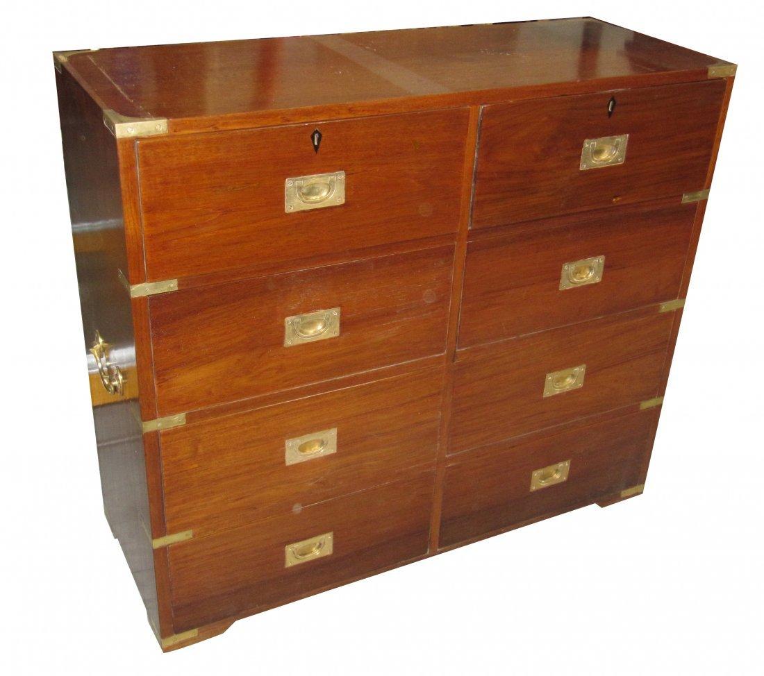 45: Grand meuble de rangement en teck massif et huit ti