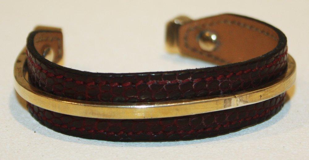 3: HERMES - Bracelet ouvert en lézard bordeaux et verme