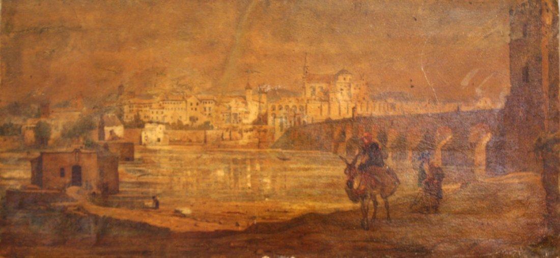 36: Ecole espagnole du XIXe siècle Vue de Cordoue Aquar