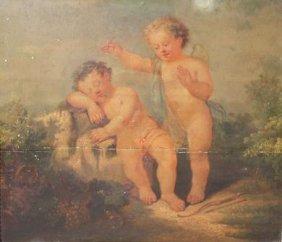 26: Ecole française du XVIIIe siècle. Deux amours jouan