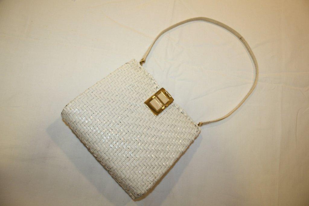 5: RODO- sac en paille tressée blanche et cuir blanc,