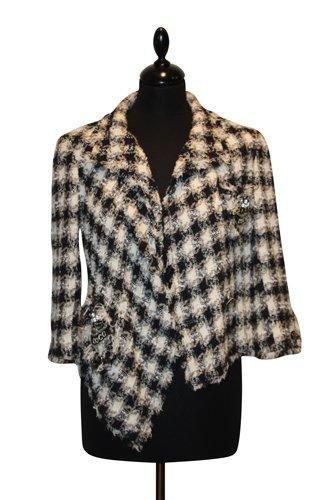 17C: CHANEL - Veste en coton, carreaux noir, mastic et