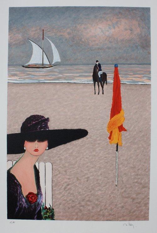 26: Ramon DILLEY (1932)  La plage Lithographie en coule