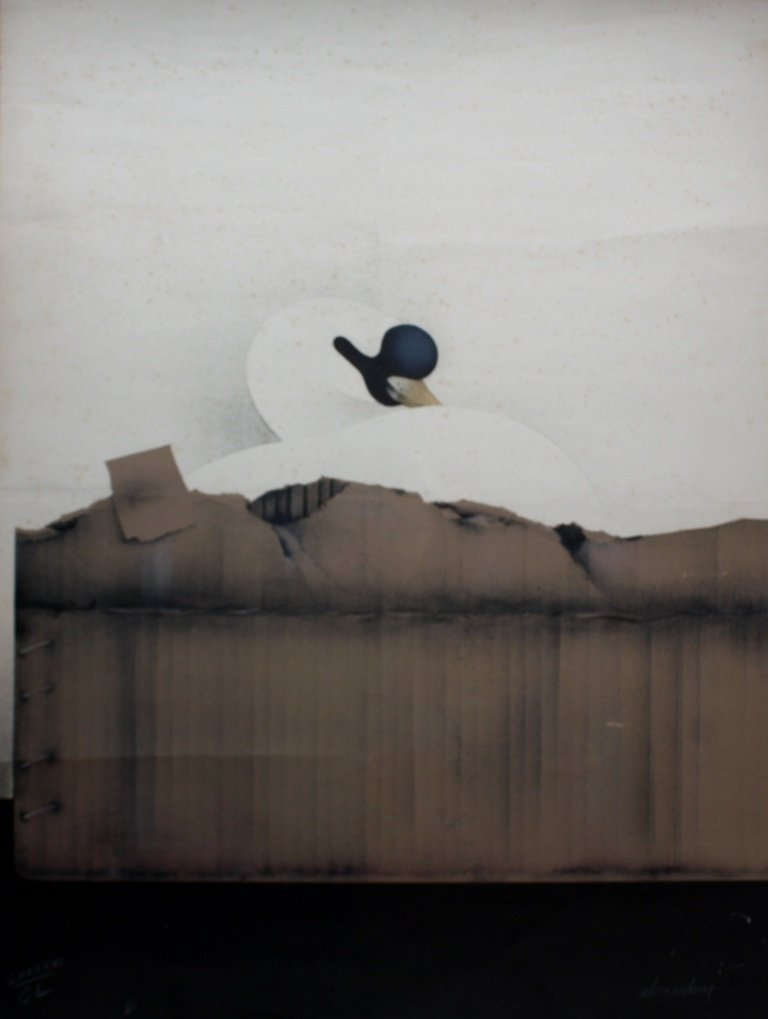 Jean-Paul DONADINI (1951) Cygne et carton Lithographie
