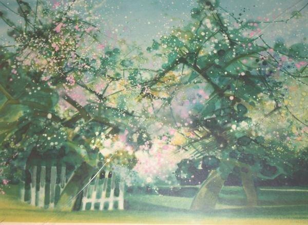 Camille HILAIRE (1916-2004) Arbres en fleurs Lithograph