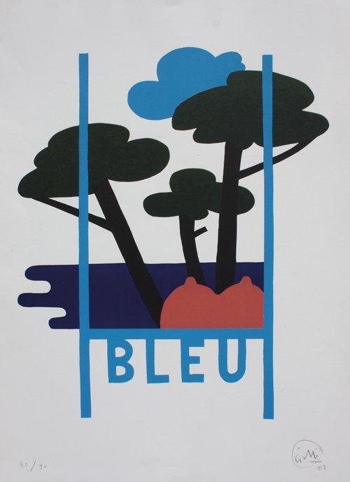 Claude GILLI (1938) BLEU lithographie numérotée en bas