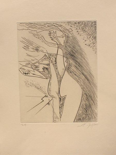 André MASSON (1896-1987) Composition au nu féminin. Gra