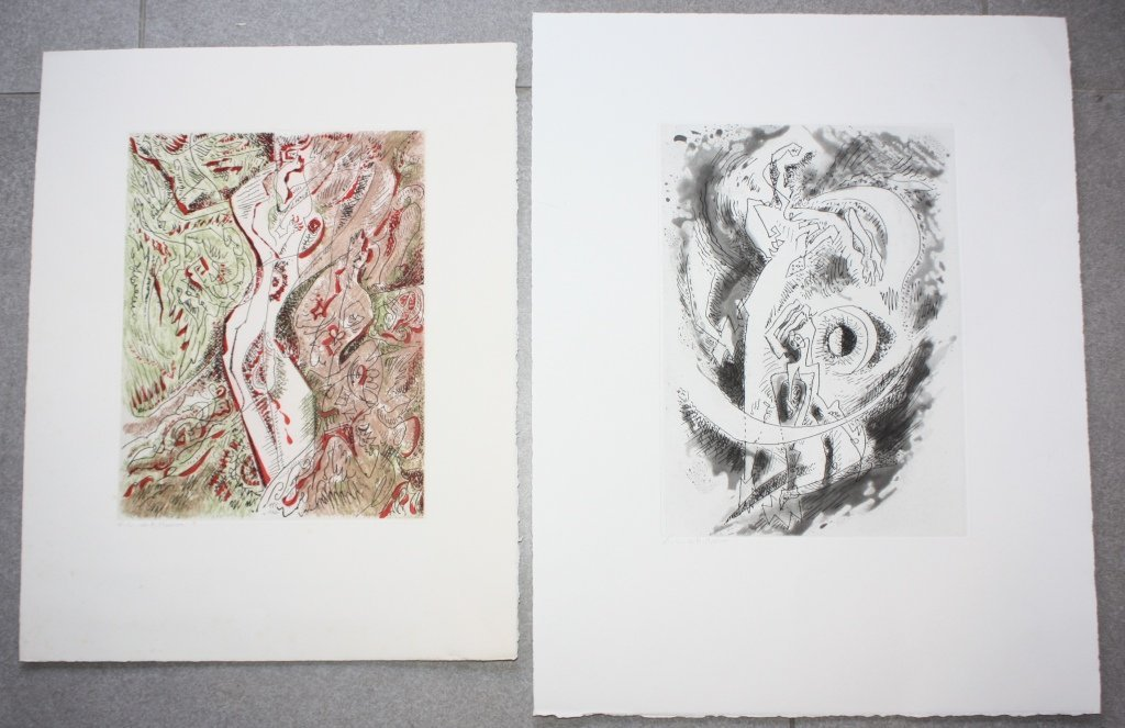 André MASSON (1896-1987) Lot de 2 gravures dont une en