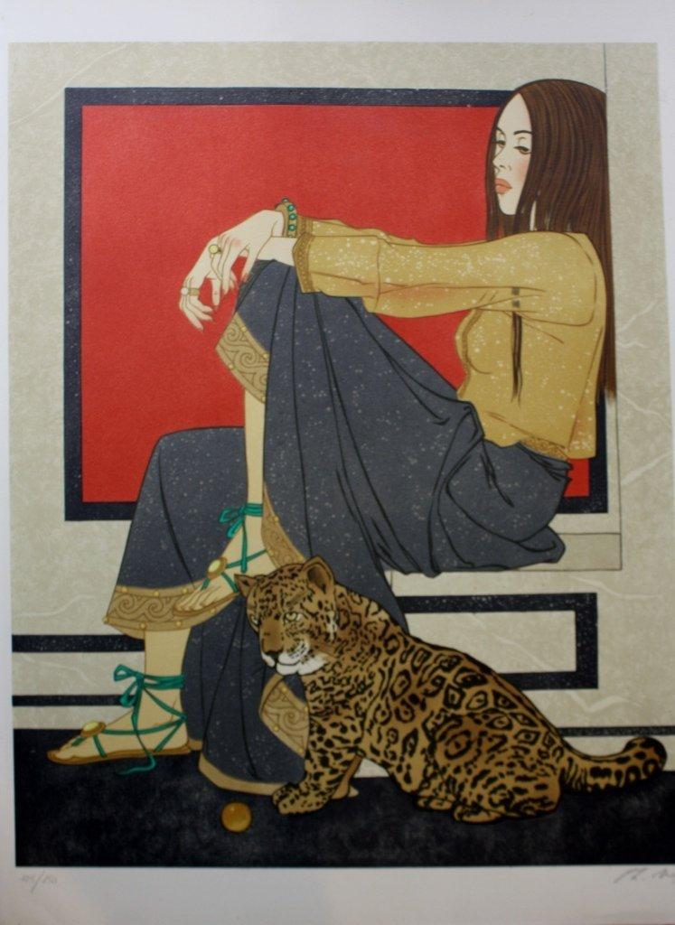 Philippe Henri NOYER (1917-1985) Femme à la panthère Li