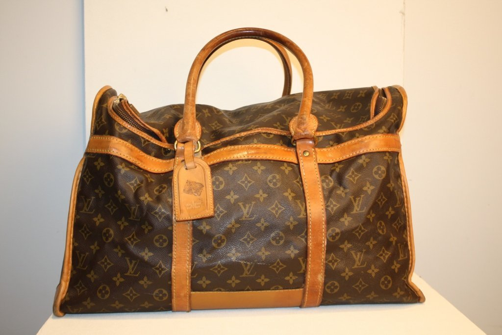 VUITTON - sac à chaussures, toile monogrammée et cuir v